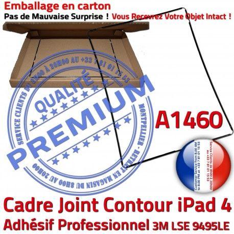 Joint Plastique iPad 4 A1460 N Cadre Noir Vitre Châssis Ecran Apple Tactile Adhésif Autocollant Precollé Tablette Contour Réparation