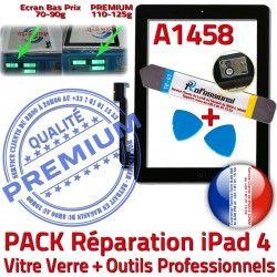 Réparation Démontage A1458 KIT PACK N Tactile 4 Vitre Oléophobe PREMIUM HOME Outils Bouton Noire Precollé Verre Qualité Adhésif iPad4 iPad