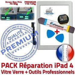 A1459 KIT Tactile Bouton iPad4 Verre A1460 4 PREMIUM Precollé HOME Adhésif Blanche Outils B A1458 Vitre Réparation Oléophobe PACK Apple iPad Démontage Qualité