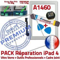 Precollé Adhésif iPad Cadre Vitre iPad4 PREMIUM Joint A1460 4 Tablette Outils B Apple PACK Bouton Réparation Verre HOME Blanche Tactile iLAME