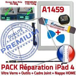 PACK B iLAME Tablette Vitre Réparation Precollé Tactile iPad4 Blanche Outils Verre Adhésif Joint Bouton PREMIUM HOME Nappe A1459 Apple