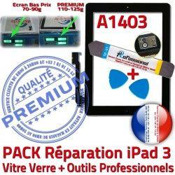 A1403 Tactile PACK 3 Outils Precollé Noire Oléophobe Réparation Démontage Verre HOME N iPad3 Bouton Adhésif PREMIUM Qualité KIT iPad Vitre