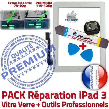 PACK iPad3 A1403 A1416 A1430 B Precollé HOME Outils Réparation Qualité Oléophobe iPad Démontage 3 Vitre Adhésif Blanche PREMIUM Apple Verre KIT Bouton Tactile