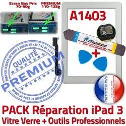 Oléophobe Adhésif Bouton Precollé A1403 Verre Blanche Démontage B KIT PREMIUM Tactile 3 Vitre iPad3 Outils Qualité iPad Réparation PACK HOME