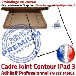 Autocollant Tablette Tactile Ecran 3 ABS Vitre Noir Adhésif Cadre Réparation Apple Precollé Joint iPad Contour Plastique Châssis N