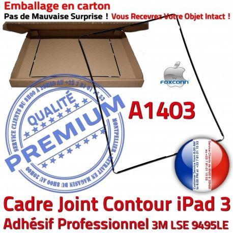 Joint Plastique iPad 3 A1403 N Noir Contour Réparation Tablette Apple Châssis Ecran Adhésif Precollé Vitre Tactile Autocollant Cadre