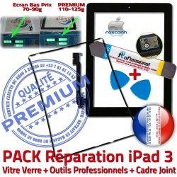 PREMIUM Chassis 3 Adhésif Precollé Verre Tactile Outils Réparation Apple Cadre iPad3 iPad Vitre PACK Tablette iLAME KIT Noire N Bouton Joint HOME