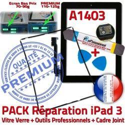 Cadre N Vitre HOME PACK iLAME iPad3 iPad Outils Joint 3 Verre Tactile A1403 Noire Apple KIT Réparation Chassis Precollé Adhésif Bouton Tablette