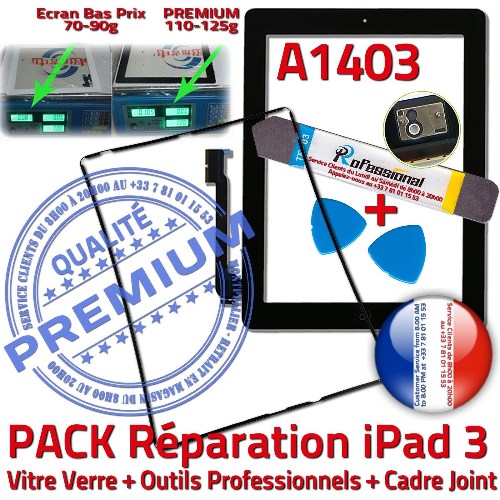 pack vitre tactile ipad3 a1403 noir cran verre assembl kit outils joint cadre ebay. Black Bedroom Furniture Sets. Home Design Ideas
