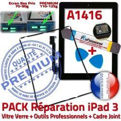 Outils iPad3 Verre KIT Chassis Joint Tablette A1416 HOME Apple N Bouton iLAME Vitre Tactile PACK Adhésif Precollé iPad 3 Noire Réparation Cadre