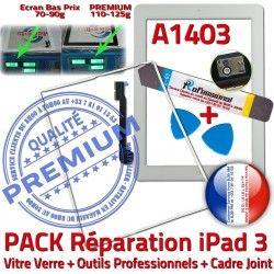 Adhésif 3 A1403 Réparation Cadre Tactile iPad HOME Joint Precollé PREMIUM Vitre iLAME Bouton Tablette Blanche PACK B Outils Verre iPad3 Apple