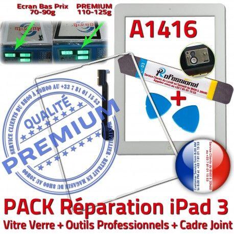 PACK iPad 3 A1416 iLAME Joint B Verre Precollé Vitre Blanche Réparation Tactile Outils Tablette PREMIUM HOME Apple Bouton iPad3 Cadre Adhésif