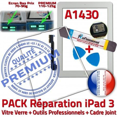 PACK iPad 3 A1430 iLAME Joint B HOME Verre Cadre Tactile Blanche PREMIUM iPad3 Réparation Precollé Vitre Bouton Outils Apple Adhésif Tablette