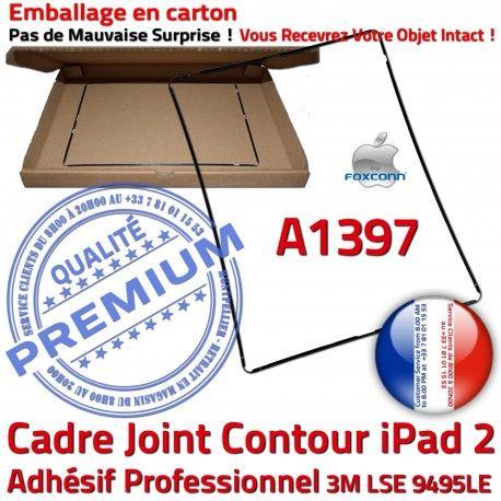 Joint Plastique iPad 2 A1397 N Châssis Cadre Ecran Precollé Tactile Adhésif Autocollant Vitre Tablette Contour Apple Noir Réparation