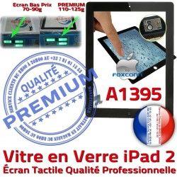 2 iPad2 Oléophobe Tactile Adhésif Fixation Noir Ecran A1395 Bouton Caméra Apple iPad Qualité Precollé Verre Vitre HOME PREMIUM Remplacement