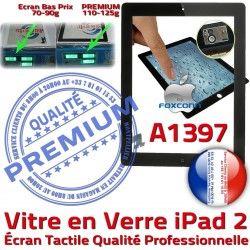 Fixation A1397 Vitre Noir Ecran HOME Caméra PREMIUM Bouton Apple Remplacement Verre Precollé 2 Tactile iPad Qualité Adhésif Oléophobe iPad2