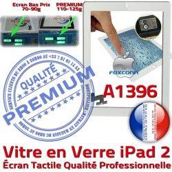 iPad Caméra Tactile Blanc 2 iPad2 Ecran Remplacement Precollé Verre Adhésif Fixation Oléophobe HOME A1396 Bouton PREMIUM Qualité Vitre Apple