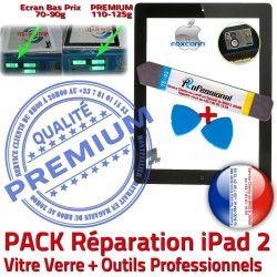 HOME PREMIUM Vitre Outils Oléophobe Qualité Tactile A1395 Réparation Tablette Precollé iPad 2 Démontage PACK N KIT iPad2 Noire Adhésif Bouton A1396 A1397 Verre