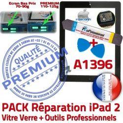 KIT Tactile PREMIUM Bouton HOME N iPad Precollé Réparation Qualité Verre Vitre iPad2 Noire Démontage PACK Oléophobe A1396 Outils 2 Adhésif