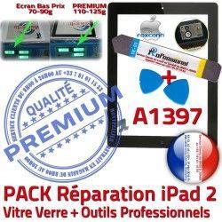 Vitre PREMIUM Tactile Outils PACK 2 A1397 iPad Qualité Bouton Réparation Adhésif HOME Noire Oléophobe N Precollé KIT Démontage Verre iPad2