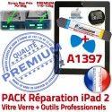 PACK iPad2 A1397 N HOME Oléophobe Noire Qualité Adhésif Démontage iPad Réparation Vitre 2 Outils PREMIUM Verre KIT Precollé Bouton Tactile