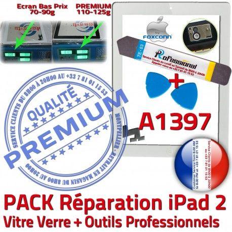 PACK iPad2 A1397 B Verre Démontage iPad Vitre PREMIUM 2 Outils Qualité Bouton Oléophobe HOME Réparation KIT Adhésif Blanche Tactile Precollé