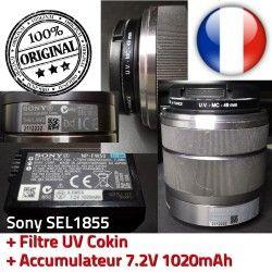 Objectif UV Sony Accumulateur 7.2V 49mm f/3.5-5.6 + Filtre ORIGINAL Optique Stabilisateur 1020mAh 18mm-55mm MC SEL1855 Cokin