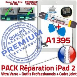 2 Réparation Tactile PACK Bouton Cadre iPad iPad2 Blanche A1395 HOME B Precollé PREMIUM Outils Apple Adhésif Verre Joint Vitre iLAME Tablette