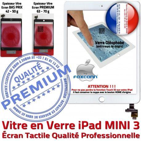 Mini3 iPad A1599 A1600 Blanc Monté Bouton Filtre Nappe Caméra Tactile Ecran Réparation Tablette MINI Vitre Home Fixation Oléophobe Adhésif 3 Verre