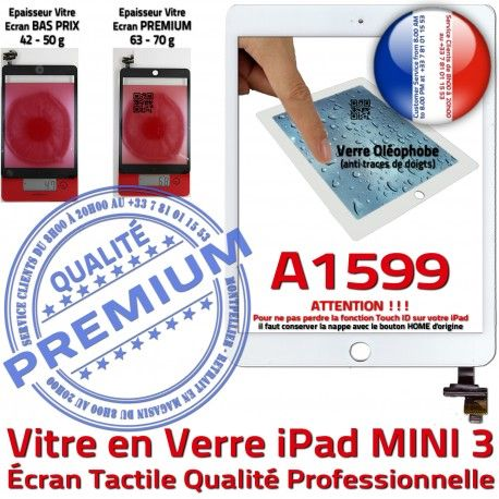 Mini3 iPad A1599 Blanc Vitre Tactile Oléophobe Tablette Ecran Monté Adhésif Home Bouton Caméra Nappe Verre Fixation Filtre Réparation