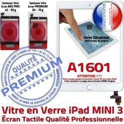 Réparation Monté Home Bouton Vitre Tablette Mini3 Nappe Adhésif Fixation A1601 Oléophobe iPad Ecran Verre Tactile Filtre Caméra Blanc