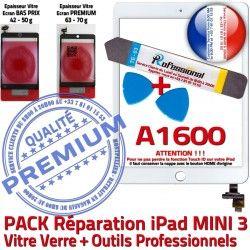 Blanche Verre Touch Mini PREMIUM Tablette Complet PACK KIT iPad Qualité 3 Tactile Vitre ID Réparation Outils A1600 MINI B Attention Adhésif
