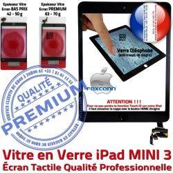 Adhésif Vitre MINI Monté iPad Mini3 Tablette Réparation 3 Caméra Tactile Filtre A1600 Oléophobe Ecran Bouton Nappe Home Noir Verre A1599 Fixation