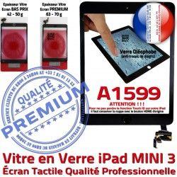 Nappe Tablette Verre Réparation Adhésif Fixation Mini3 PREMIUM Vitre Filtre Bouton Oléophobe Caméra Noir A1599 Ecran Tactile iPad