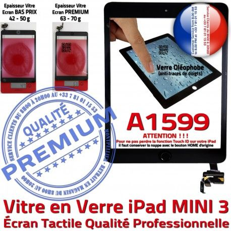 iPad Mini3 A1599 Noir PREMIUM Tablette Ecran Bouton Réparation Fixation Tactile Verre Caméra Vitre Filtre Adhésif Oléophobe Nappe