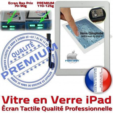 Vitre iPad3 iPad4 Apple Blanche Oléophobe iPad Verre Complet Adhésif HOME Qualité Ecran Fixation Tactile Precollé Réparation PREMIUM Caméra Bouton