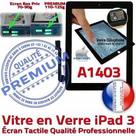 iPad3 Apple A1403 Noir Vitre 3 PREMIUM Fixation Tactile iPad Adhésif HOME Verre Precollé Oléophobe Caméra Remplacement Ecran Bouton Qualité