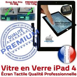 Remplacement Verre Fixation Ecran iPad Tactile Caméra Oléophobe Adhésif PREMIUM Apple A1458 Vitre Bouton Noir A1459 Qualité HOME A1460 PN 4 Precollé iPad4