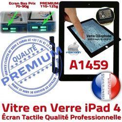 Remplacement Qualité iPad4 Noir Apple Bouton Fixation Ecran Tactile 4 A1459 Vitre PREMIUM Precollé Oléophobe iPad Adhésif Caméra HOME Verre