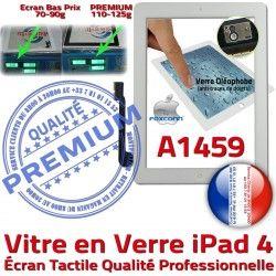 iPad HOME Apple Ecran Adhésif A1459 Blanc Caméra Remplacement Vitre Bouton iPad4 PREMIUM Precollé Verre Tactile Qualité 4 Fixation Oléophobe