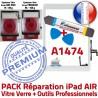 PACK iPad AIR A1474 B Qualité Vitre Blanche Bouton Réparation Verre Outils Adhésif PREMIUM HOME Oléophobe Nappe Tactile KIT Precollé