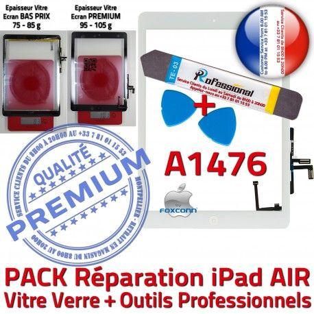 PACK iPad AIR A1476 B Precollé Qualité Tactile Verre Oléophobe HOME Adhésif KIT PREMIUM Bouton Réparation Blanche Nappe Vitre Outils