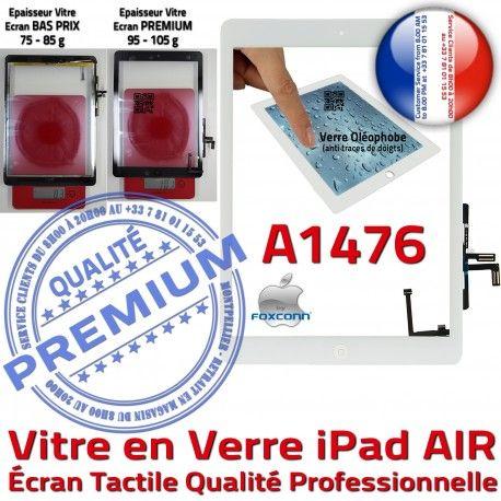 iPad AIR A1476 Blanc Réparation Monté Caméra Ecran Vitre Tactile IC Fixation Adhésif Nappe Qualité Oléophobe HOME Tablette Verre