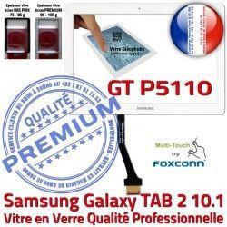 GT-P5110 Ecran Samsung Qualité Blanche 10.1 Galaxy PREMIUM Verre P5110 Adhésif LCD Vitre GT 2 Prémonté Supérieure B TAB Tactile en TAB2 Assemblée