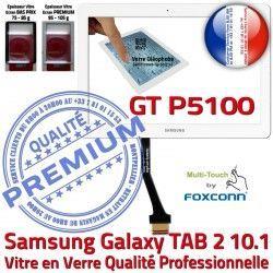 LCD Prémonté Verre Assemblée B GT-P5100 P5100 en Adhésif TAB Supérieure Blanche Tactile 10.1 Qualité Galaxy 2 Samsung PREMIUM TAB2 GT Ecran Vitre