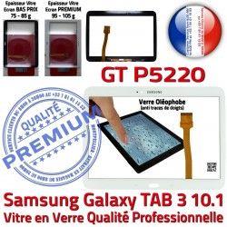 Supérieure Ecran GT Adhésif Galaxy Qualité Assemblée 3 Vitre B Prémonté en P5220 Verre Tactile TAB3 PREMIUM Blanche TAB 10.1 Samsung LCD GT-P5220