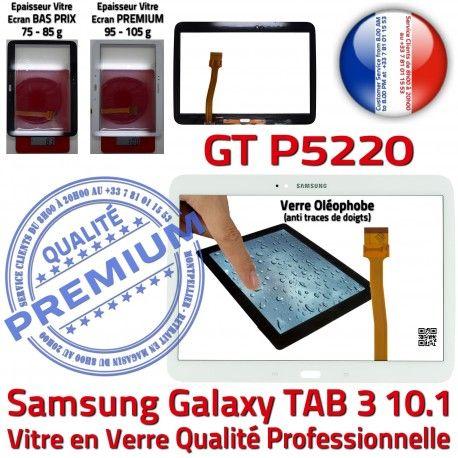 Samsung Galaxy GT-P5220 Tab3 B Adhésif Prémonté en TAB3 Ecran Verre PREMIUM 10.1 Blanche Assemblée Vitre LCD Supérieure Tactile Qualité