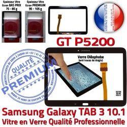 Noire Adhésif Galaxy PREMIUM en GT Qualité LCD Samsung Assemblée Tactile TAB3 3 P5200 Prémonté Vitre 10.1 GT-P5200 Ecran TAB N Supérieure Verre
