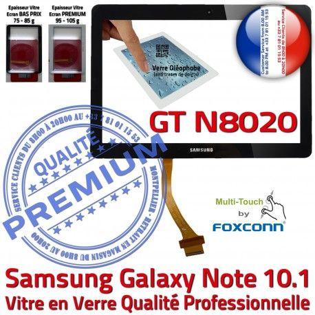 Samsung Galaxy NOTE GT-N8020 N 10.1 Supérieure Qualité GT Vitre PREMIUM Assemblée Prémonté LCD en Adhésif Noire Ecran N8020 Tactile Verre