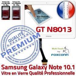 Tactile en Vitre Assemblée GT Galaxy B Supérieure 10.1 GT-N8013 Qualité LCD Verre N8013 Prémonté NOTE Adhésif PREMIUM Samsung Blanche Ecran